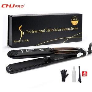 Chj steampod profissional vapor alisador de cabelo cerâmica chapinha ferro liso alisador cabelo vapor vapor