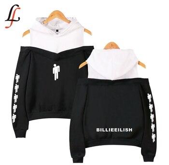 Billieeilish Women Sexy Lecky Shoulder Hoodies Sling Sweatshirt Billie eilish Sweatshirt Kpop Tops Casual Streetwear Tracksuit