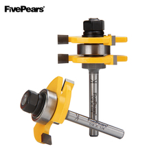 2pc/set 6.35mm 1/4 Shank Tongue And Groove Joint Assembly Router Bit Set 3/4 Stock Wood Cutting Tool FivePears set of 2 pieces 1 4 inch shank matched tongue and groove router bit set