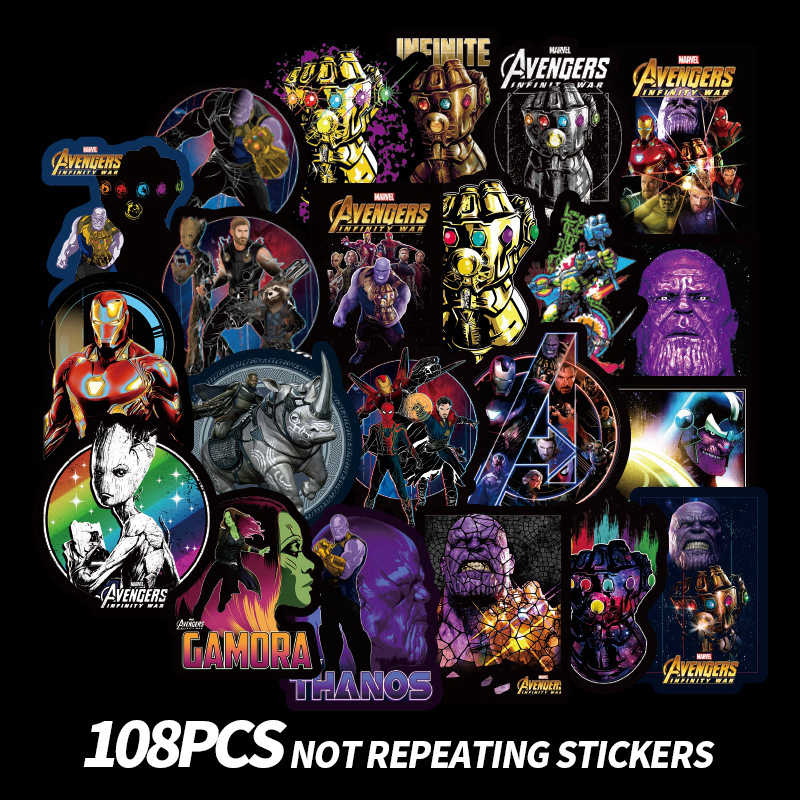 Avengers Stickers Laptop Skateboard Thanos Sticker Children Toys Waterproof Graffiti Luggage Stickers Classic Toys 100pcs/Pack
