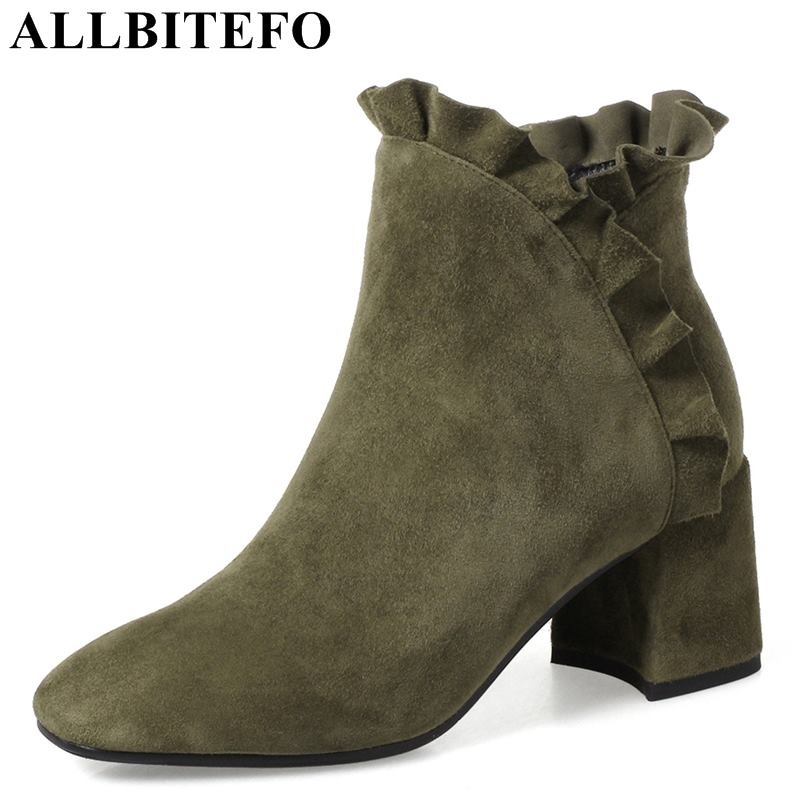 ALLBITEFO size:34-42 Nubuck leather high heeled shoes fashion ruffles thick heel ankle boots women high heel shoes women boots small yards autumn 16 30 31 32 33 plus size 40 41 42 43 genuine leather thick heel single shoes women s high heeled shoes
