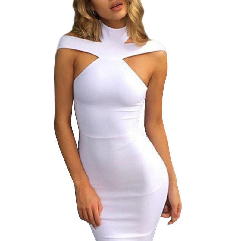 Women Sexy Stretch Halter Dresses Ladies Party Hollow Out Sleeveless Mini Dresses
