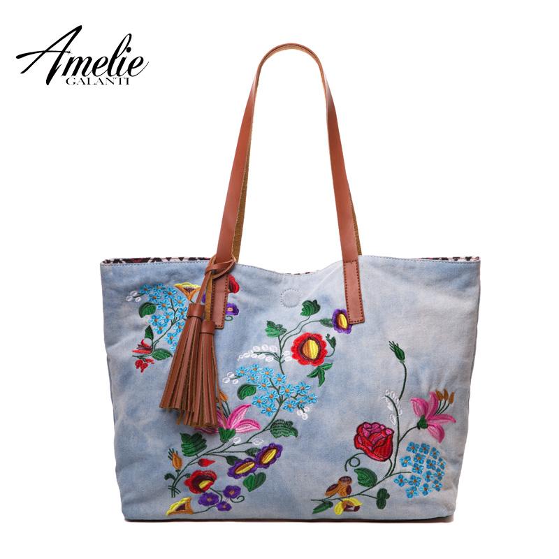 Prix pour AMELIE GALANTI casual femmes d'épaule sacs de mode coton denim broderie floral sacs à main des emballages de conception d'origine shopping sac