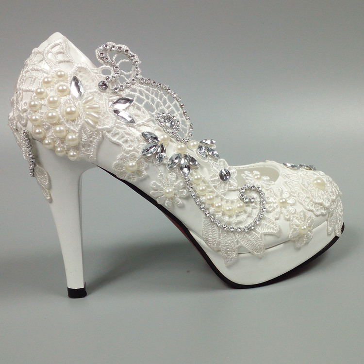White lace wedding shoes super high diamond round bride pearl waterproof platform shallow mouth diamond wedding women pumps пустышка chicco physio 2 шт 6 12 мес силикон нежность 310410135