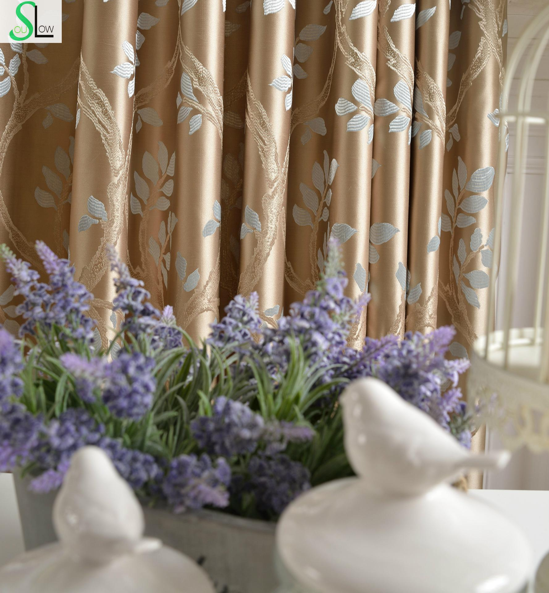Blackout curtains for bedroom - Peach High Precision Jacquard Curtains French Window Leaves Pastoral For Living Room Blackout Bedroom Cortinas Cocina Kitchen