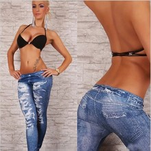 New Fashion Nice Stretchy Jean Look Fashion Legging For Women Sexy Jeggings Slimming Leggins Skinny Leg Pants Hole Jeans
