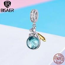 30f73baa6b7b BISAER de Plata de Ley 925 de Hada Verde elfo planeta colgantes de oro  color encantos DIY pulsera collares para las mujeres joye.