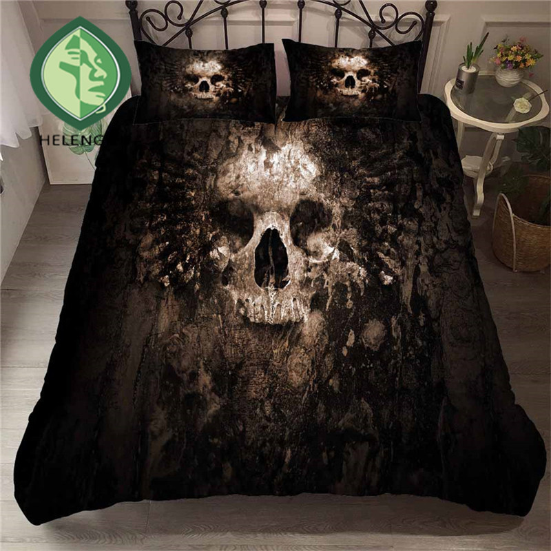 HELENGILI 3D Bedding Set Skull Print Duvet Cover Bedclothes with Pillowcase Bed Home Textiles #KL-75