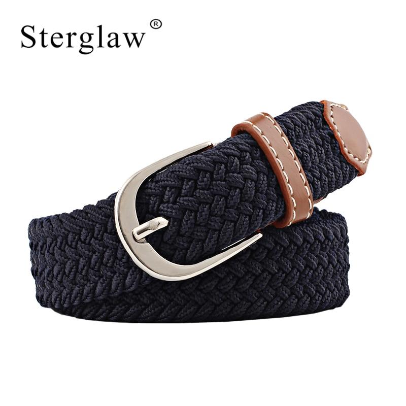 100x2.5cm New Black Elastic Waist Belt For Women Braided Belt 2020 Casual Men Belts With Student Belt Thin Canvas Belt N219