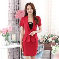 Ladies Summer Office Skirt Suits Black Gray Red Work Professional Outfit Plus Size Women Short Sleeve Blazer Suits With Skirt