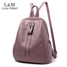 Women Soft PU Leather Backpacks Vintage Female Shoulder Bag Travel Womens Bagpack Mochilas School Bags For Girls Preppy XA251H