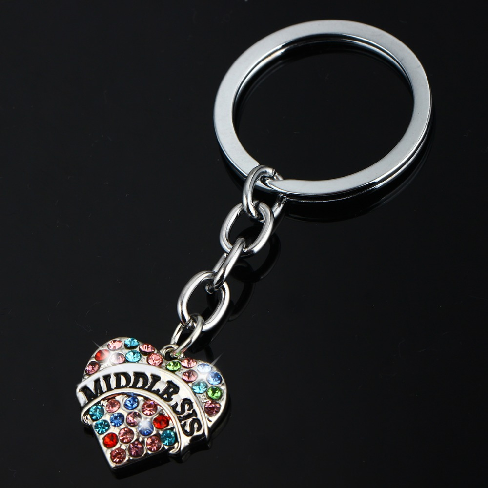 Vintage Colorful Crystal Heart Middle Sis Sister Keyring Rhinestone Statement Jewelry Family Women Girl Gift Key Chains For Bag