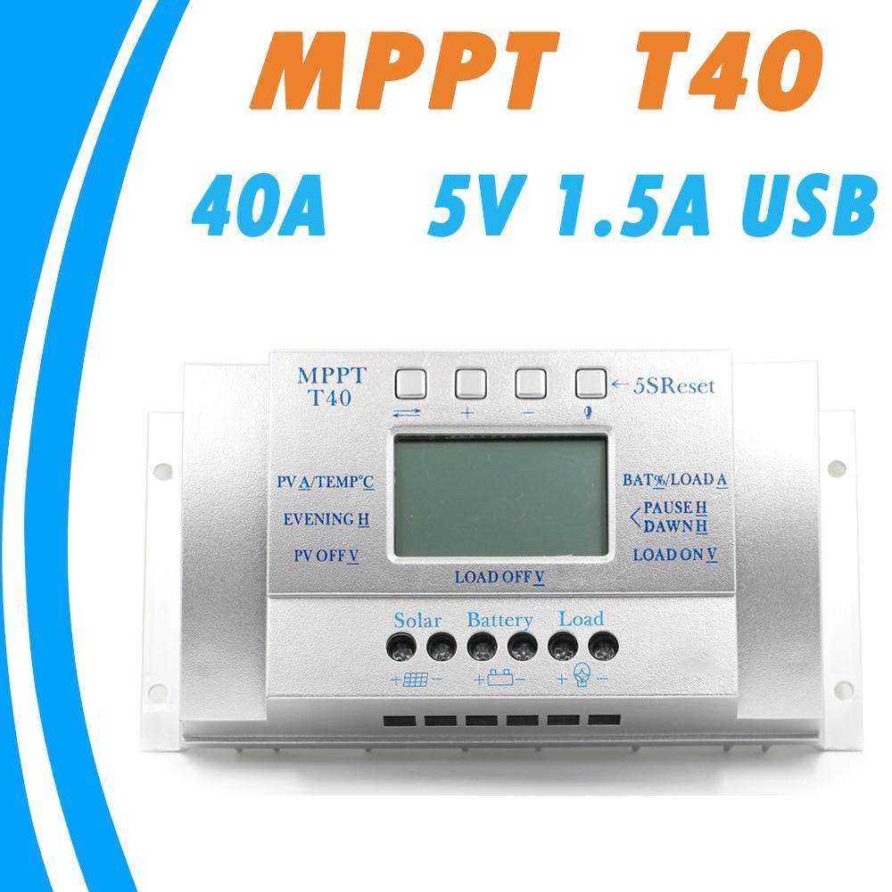 40A ソーラー充電コントローラ 12 V 24 V オート 5 V 1.5A USB 出力負荷光とタイマー制御ソーラーパネルレギュレータ Lcd 40A  グループ上の 家のリフォーム からの ソーラー コントローラ の中 1