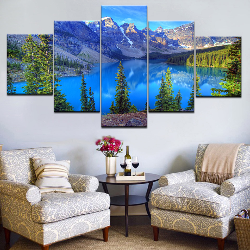 Home Decor Nation: 5pcs HD Printing Canvas Painting Landscape Banff National