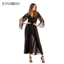Yovamoo Spring 2018 Womens Deep V-neck Solid Color Chiffon Dress Europe And America Popular Style Black Long Dresses Plus Size
