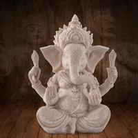 Hand Carved Sandstone Seated Ganesh Buddha Deity Elephant Hindu Statue Decor Home Ornaments Lucky figurine, arts and crafts 3