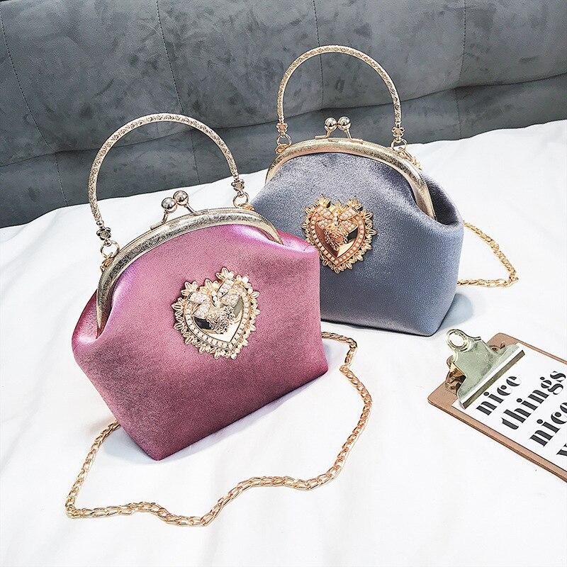 4 5 Delle 1 Della Piccolo Velluto Donne Retro Borsa Catena Europeo Lusso Messenger Vintage Spalla Borse 2 Femminile Victorian Stile Chic Di Bag 3 gaqR4q