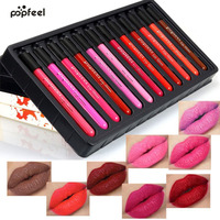 POPFEEL 12 Pcs Set Cosmetics Lip Kit Maquiagem Matte Lip Gloss Matt Lipstick Liquid Make Up