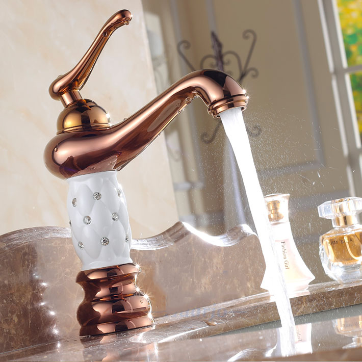 ФОТО White Style Diamond Faucet Rose Gold Finish Copper Bathroom Basin Faucet Kitchen Sink Mixer Tap