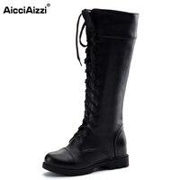 AicciAizz Größe 34-43 Neue Mode frauen Stiefel Lace Up Knie hohe Stiefel Frauen Martin Stiefel Wohnungen Casual Punk Schuhe Schuhe frau