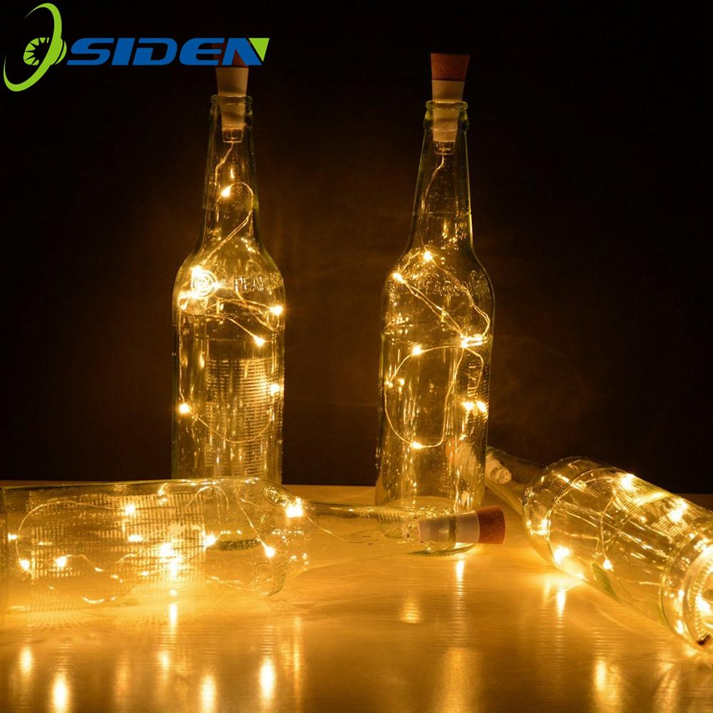 Wine Bottle Lights 2M 20 LEDS  With Cork Built In Battery LED Cork Shape Silver Copper Wire Colorful Fairy Mini String Lights