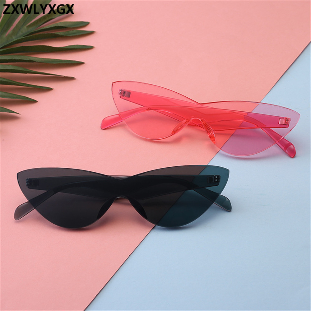 ZXWLYXGX One-pieceSunglasses Women  Brand Designer New Fashion Cute Sexy Retro Cat Eye Vintage Cheap Sun Glasses Red Female