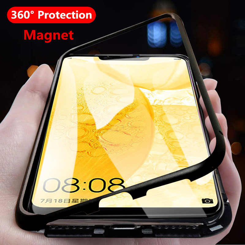 Hot 360 Magnetic Adsorption Case for Huawei Nova 3 3i 2i P30 P20 Lite Magnet Tempered Glass Cover for Mate 10 20 Pro 20X Shell