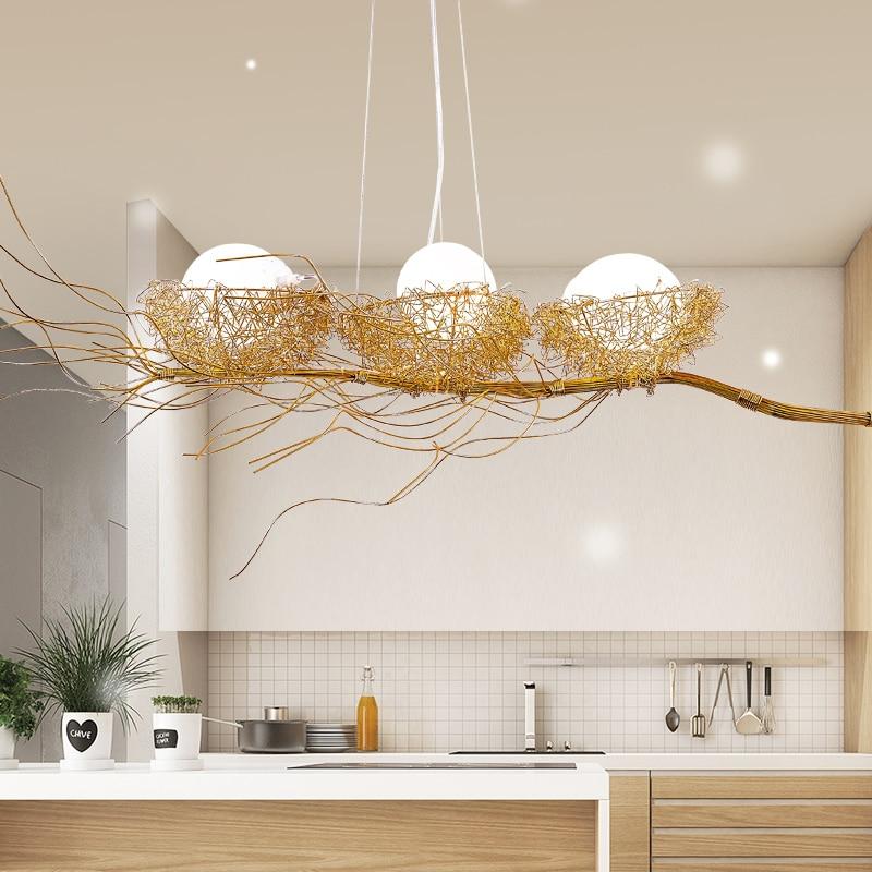 Bird Chandelier Lighting: Modern Chandelier Lighting For Golden Bird's Nest Dining