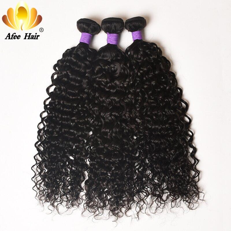AliAfee Peruvian Water Wave Hair Weave Bundles Remy Hair 3 Bundles Deal Peruvian Curly Hair 100% Human Hair Extension
