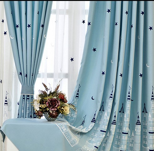 [Slow Soul] Cartoon Baby Room Curtains Embroidered Castle Tulle Curtain For Bedroom Kids Children Rideaux Pour Le Salon CL-224(China)
