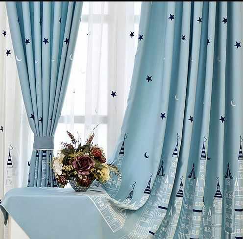 [Slow Soul] Мультяшные шторы для детской комнаты, вышитый замок, тюль, занавеска для спальни, детей, Rideaux Pour Le Salon CL-224