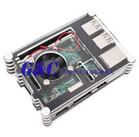 Black Clear Layer Case With Fan For Raspberry Pi Model B Raspberry Pi 2