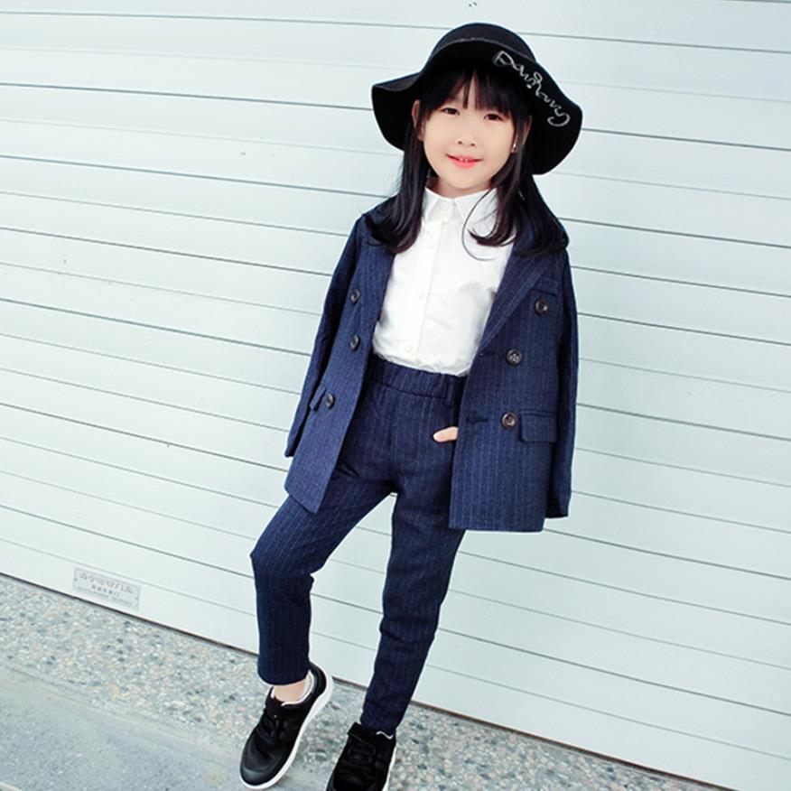 Children s Blazer Sets Girls Suits Spring Baby Girl Clothes Striped Double breasted Jacket Pants Casual