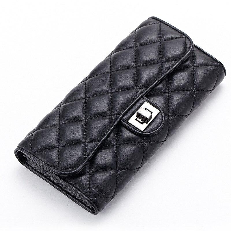 ФОТО Genuine Leather plaid wallet Ms. Long sheepskin lock buckle wallet European and American style purse Women Fashion Wallets