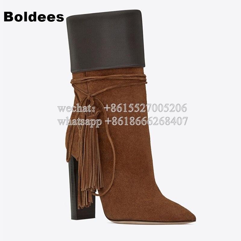 Fashion Pointed Toe Block Heeled Fringe High Heel Mid-calf Winter Pointed Toe Gladiator Boots цены онлайн