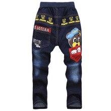 Жан мальчика упругие дизайнер талии джинсы мальчиков осень брюки детские для