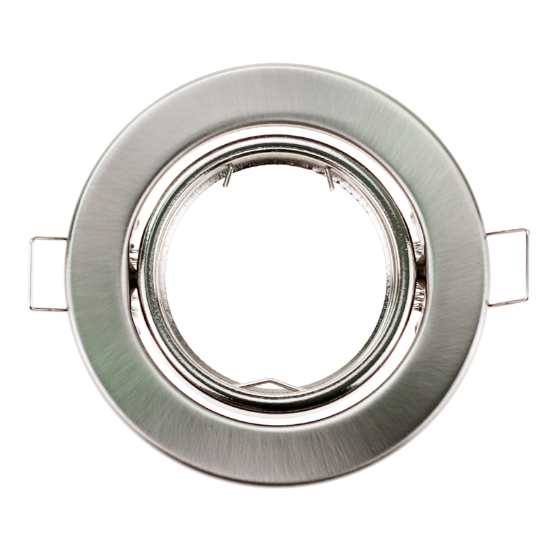 Round Nickel Recessed LED Ceiling Light Adjustable Frame MR16 GU10 Bulb Fixture Downlight Holder