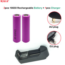 MJKAA Battery 18650 3.7V Rechargeable Lithium Ion 2600 mAh  + Single Slot Charger One