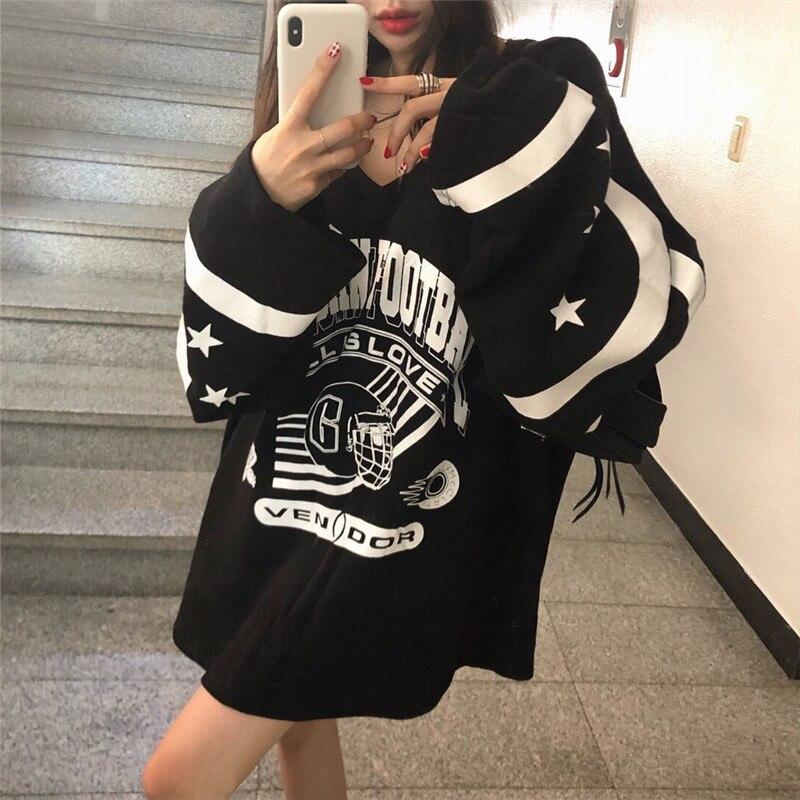 Couleur contraste col en V vestes à capuche femmes motif imprimé sweat décontracté nouveau 2019 printemps automne