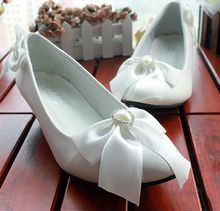 Low high heel womens wedding shoes white bow bowtie fashion sweet design female ladies party shoes on sales in stock XNA 119