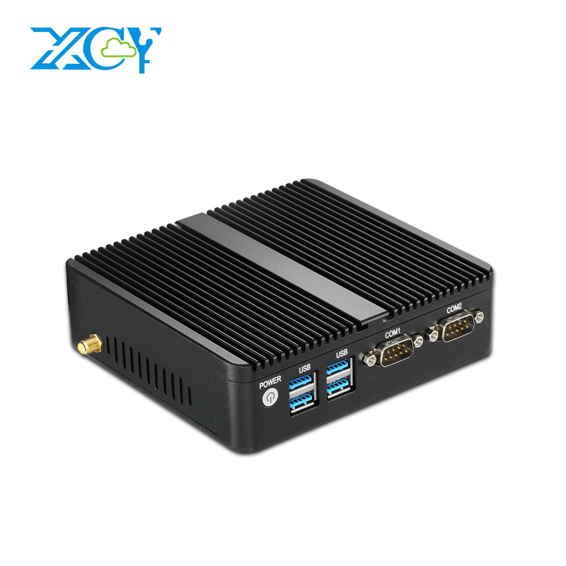 XCY Mini PC Windows 10 Celeron 3205U 3215U 3755U Pentium 3805U 2 LAN 2 COM Nettop Micro De Bureau PC HTPC HDMI VGA WiFi