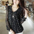 2016 Sexy cute Women Spring Summer white Polka Dot Print black Blouses Puff Long Sleeve O-neck Chiffon Shirt Plus Size XXXL CB59