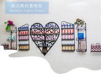 Manicure display shelf wall hanging heart shaped cosmetic storage rack iron European style