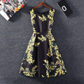 Summer Dress 2016 Fashion Vintage Print Sleeveless Dress Casual Party Dresses Vestidos Plus size