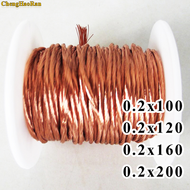 ChengHaoRan 1m 0.2x100 0.2x120 0.2x160 0.2x200 Shares Litz wire stranded enamelled copper wire / braided multi strand wire