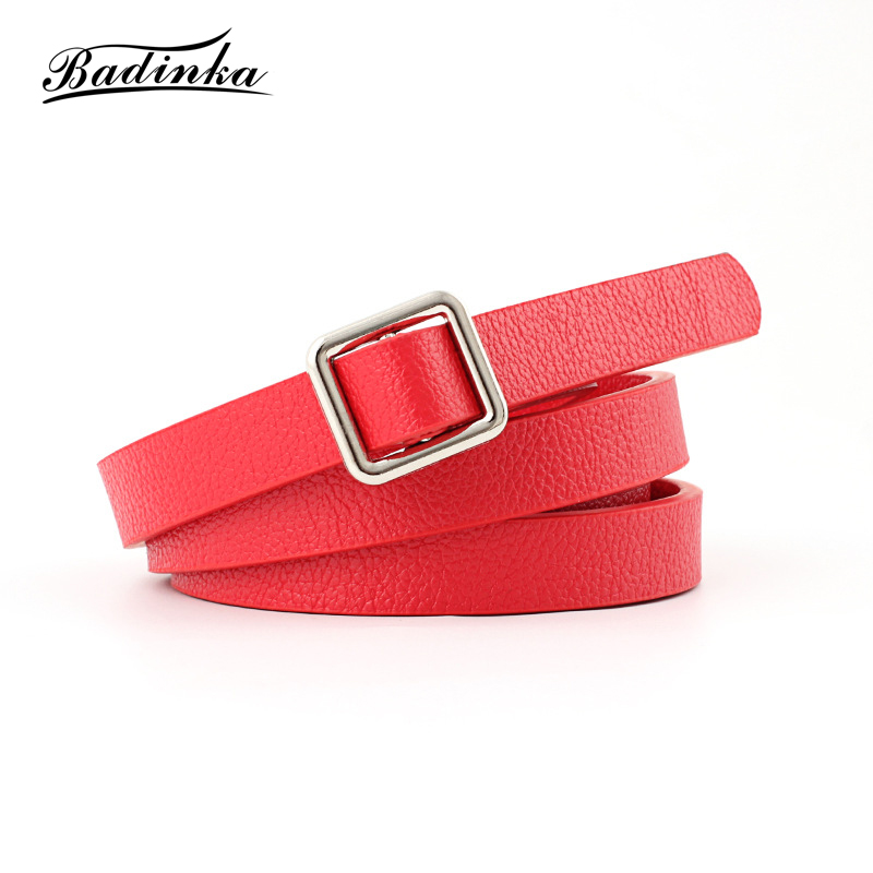 Badinka 2018 New Designer Black White Red Narrow Faux Leather Belt Female Thin Waist Dress Belts for Women Strap Cinturon Mujer