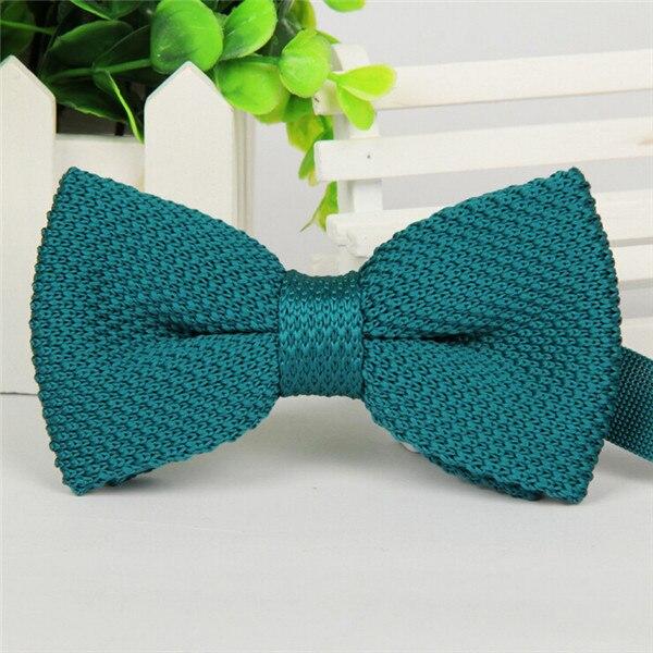 Фирменная новинка, мужской однотонный Вязаный Галстук-бабочка, Модный свадебный смокинг, красный, черный, белый, зеленый, голубой конфетный цвет, галстуки-бабочки - Цвет: 14