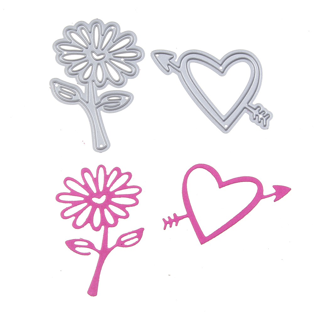 36*50mm scrapbooking DIY 2pcs sunflower love arrow Shape Metal steel cutting die flower Shape Book photo album art card Dies Cut
