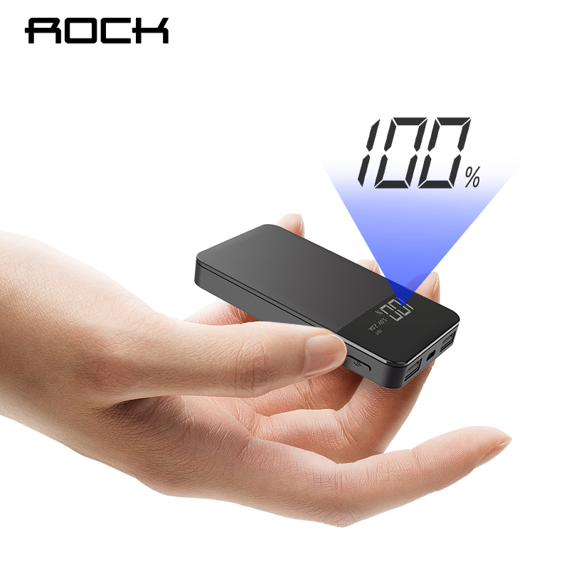 ROCK Mini 10000 mAh Power Bank mit Digital Display Dual USB Externe Batterie PoverBank Power für iphone XS Max Xiaomi