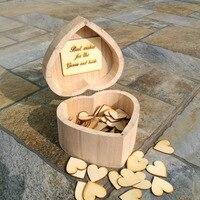 Rustic Wedding Heart Guestbook Personalized Wedding Guest Book Custom Wooden Rectangle Keepsake Box Wedding Box 100